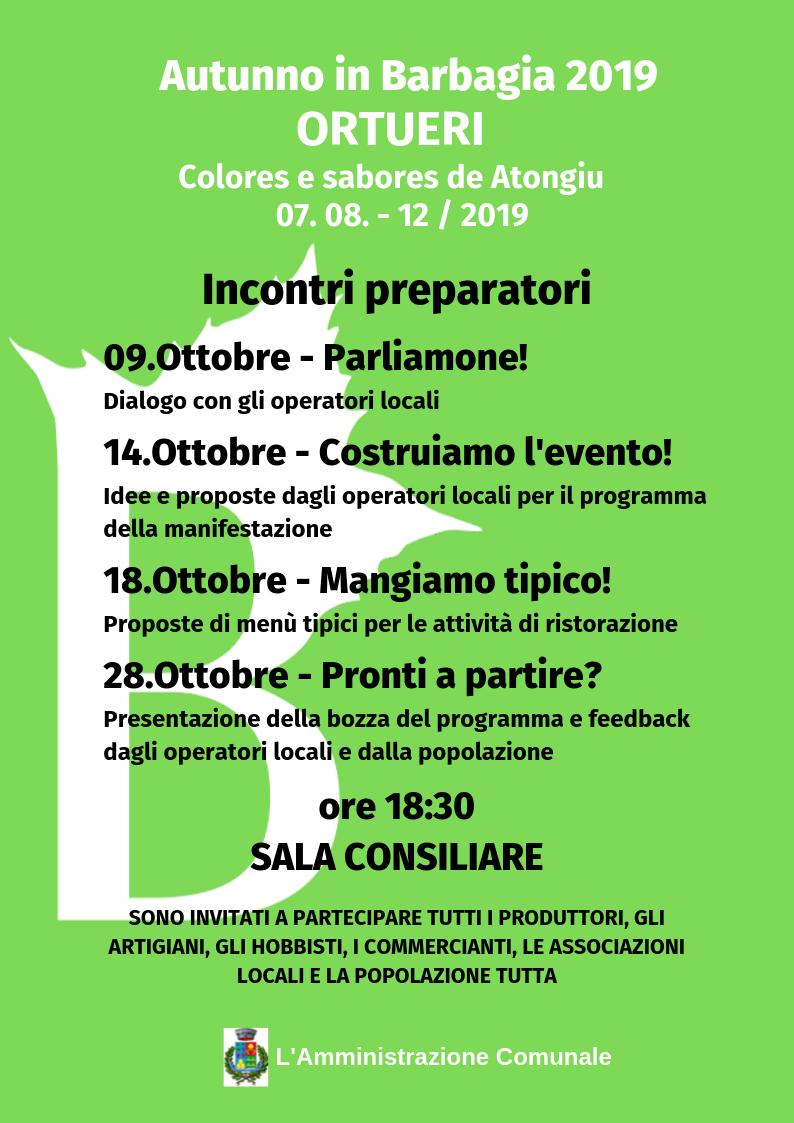 AUTUNNO IN BARBAGIA 2019 -  Colores e Sabores de  Atongiu - Incontri preparatori
