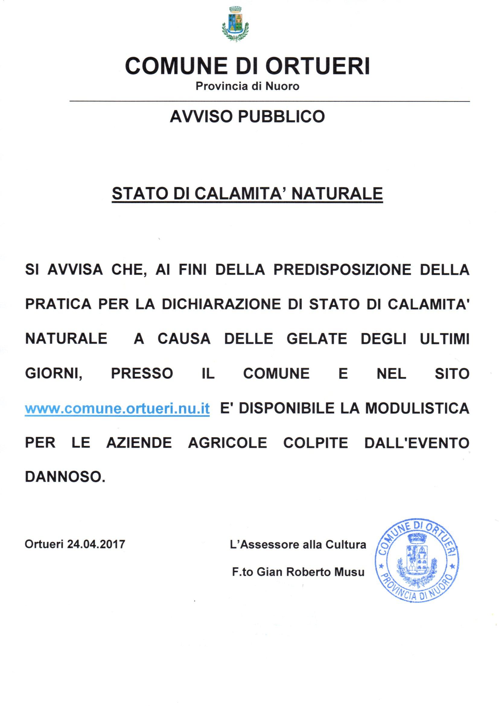 MODULISTICA PER LA DICHIARAZIONE DI STATO DI CALAMITA' NATURALE
