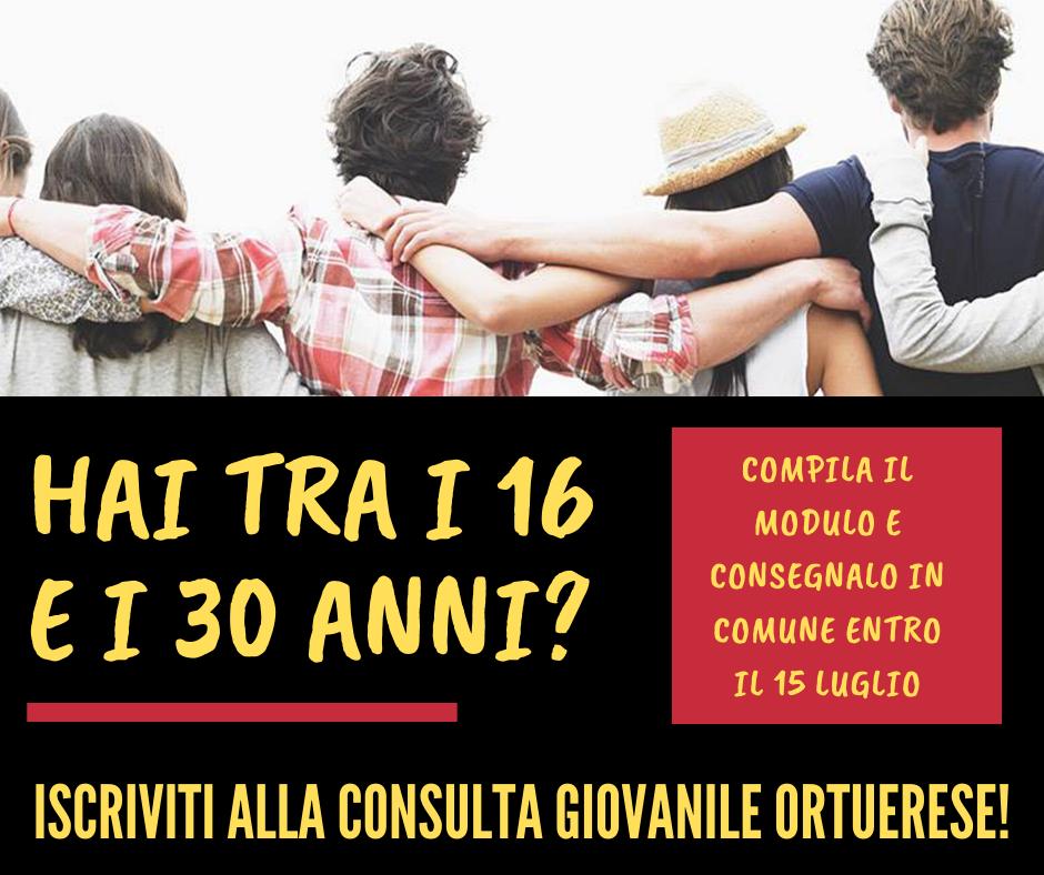 Iscrizioni alla Consulta Giovanile Ortuerese - modulo di adesione